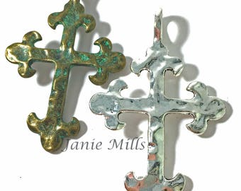 """Cross Pewter Hammered 2"""" x 3"""""""