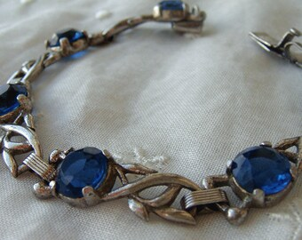 Vintage Sterling Bracelet Cast Vine Segment Link London Blue Topaz Color Glass Stones Art Deco