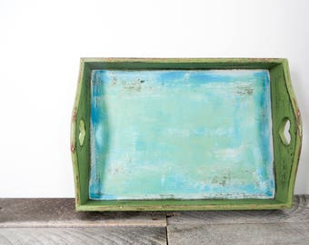 Green Tray - Bright Multi-Colored Funky Unique - Handpainted Tray