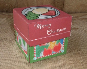 Merry Christmas Gift Box Template DIY Pattern PDF Instant Download