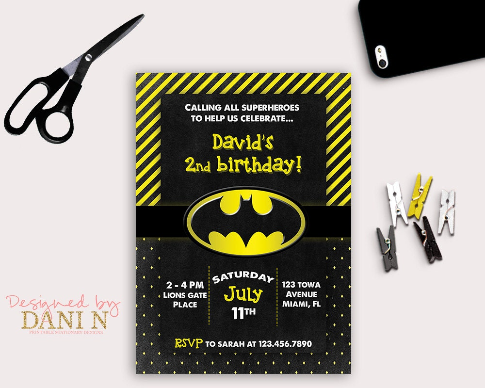 Batman Birthday Party INVITATION black and yellow printable