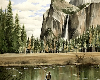 "Fly fishing Art Print - ""Fishing Yosemite"" - Watercolor Painting - Angling Art - Signed by Artist DJ Rogers - Wall Decor"