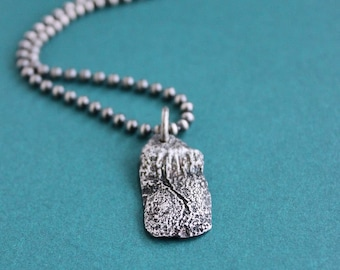 Men's Small Distressed Silver Pendant on Chain