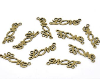 10 Love connectors metal bronze color