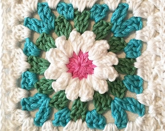 Flower Granny Square Crochet Pattern --Blooming Granny