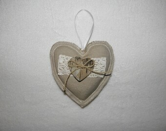 Heart hanger, linen, lace and wood, hanging decoration, door decoration, window
