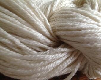 Natural White Merino/Silk Yarn, Aran Weight, Knitting, Weaving, Crochet, Dyeing