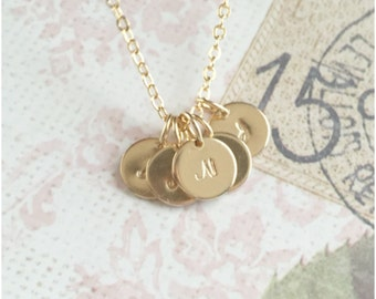 Tiny Five Initial Necklace - Gold 5 Initial Necklace - Hand Stamped Necklace - Personalized Mother Necklace - Dainty Necklace Mommy necklace