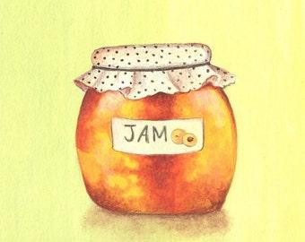 Apricot Jam, Kitchen Art, Art Print 8x8