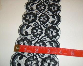 """4"""" wide Black lace trim 40yds  (3372)"""