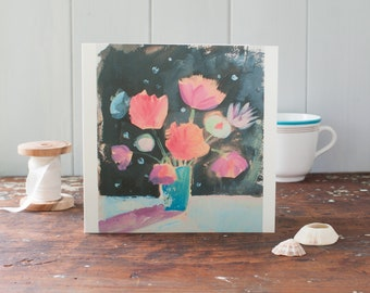 Floral art card- blank card for a woman - impressionist art- greeting card - hostess thank you -  birthday card - bunch of flowers - peach