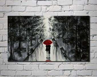 Red umbrella art Love couple painting Wall art Acrylic painting on canvas Romantic painting Lovers rain art Couple hugging Contemporary art