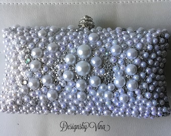 Shimmering Pearls and Sparkling Rhinestones Evening,Bridal Clutch
