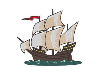 Ship Boat Vessel Sail Pirate Ship Embroidery Machine Design
