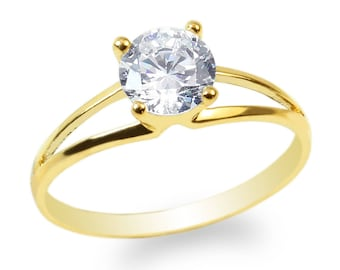 JamesJenny 10K/14K Yellow Gold 0.8ct Round CZ Beautiful Lined Solitaire Ring Size 4-10