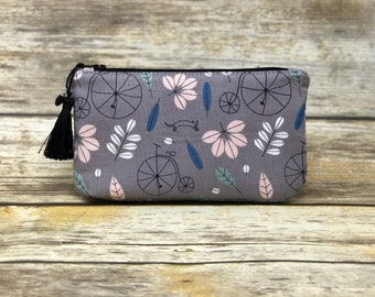 Vintage Bicycle and Cat Cosmetic Bag | Biker Gifts | Cat Zipper Pouch