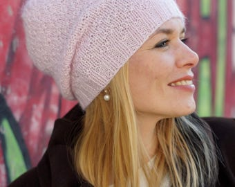 Hand knitted winter beany - pink rose women hat urban wool hat