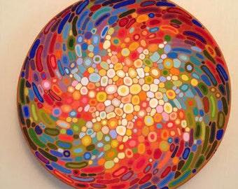 Ceramic wall art abstract decorative plate colourful wall decor large ceramic plate Armenian pottery & Abstract decorative plate hand painted ceramic wall art hand