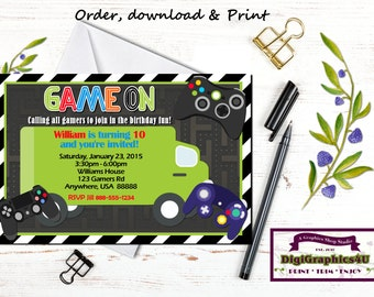 Game On Video Game Truck, Gamer Birthday Party Invitation and/or Party Package for Kids - Personalized Printable File
