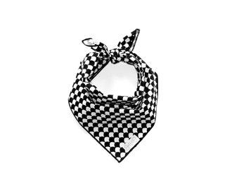 The Jasper Bandana | White and Black Bandana | Classic-Tie Dog Bandana | Square | Pet | Dog Bandana