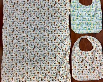 I love Grandma / I Love Mommy I Love Daddy flannel / minky blanket and two flannel bibs