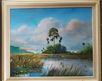 Original Oil Painting Florida Landscape Art Tropical Painting Glades Wetlands River Pine Trees Framed 20x24