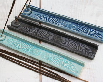 incense burner, incense tray, stick incense holder, blue batik paisley, yoga gift, meditation, boho decor, aromatherapy gifts, altar items