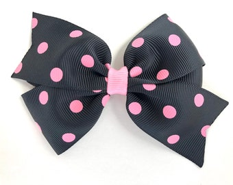 Polka dot hair bow - hair bows, hair bows for girls, girls hair bows, toddler bows, girls bows, black hair bows, bows, hairbows, hair clip