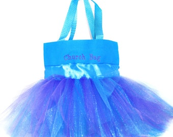 Easter Basket, Bag with Bright Blue Satin Ribbon, Name Embroidered on The Bag. Personalized Dance Bag, Tutu Bag, Dance Bag