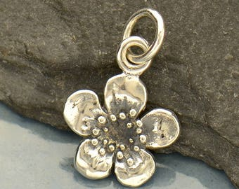Sterling Silver Plum Blossom Flower Charm