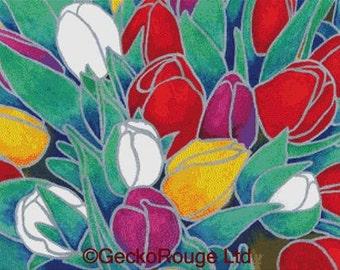 Cross Stitch Kit By Barbara Glatzeder - ' Tulips' - Modern Art