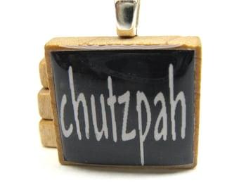Hebrew Scrabble tile - Chutzpah - white on black