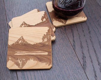 Mountain Wood Coasters, Coasters Set, Drink Coasters, Coasters, Custom Coasters, Monogram coasters, Engraved Coasters, Mountain Coasters