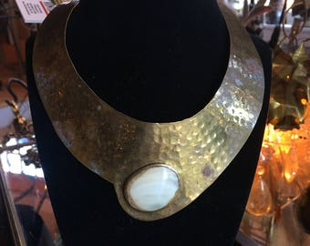 Vintage Hammered Brass and Shell Necklace Choker