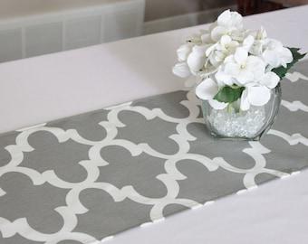 Grey Moroccan Tile Table Runner, Choose Length, Quatrefoil Table Runner,  Grey Modern Table Runner, Wedding Runner, Dining Table, Kitchen