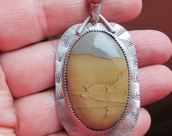 Picture Jasper and Red Coral Sterling Silver Pendant
