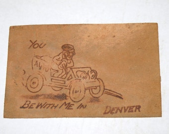 Victorian Leather Post Card You Be with Me in Denver