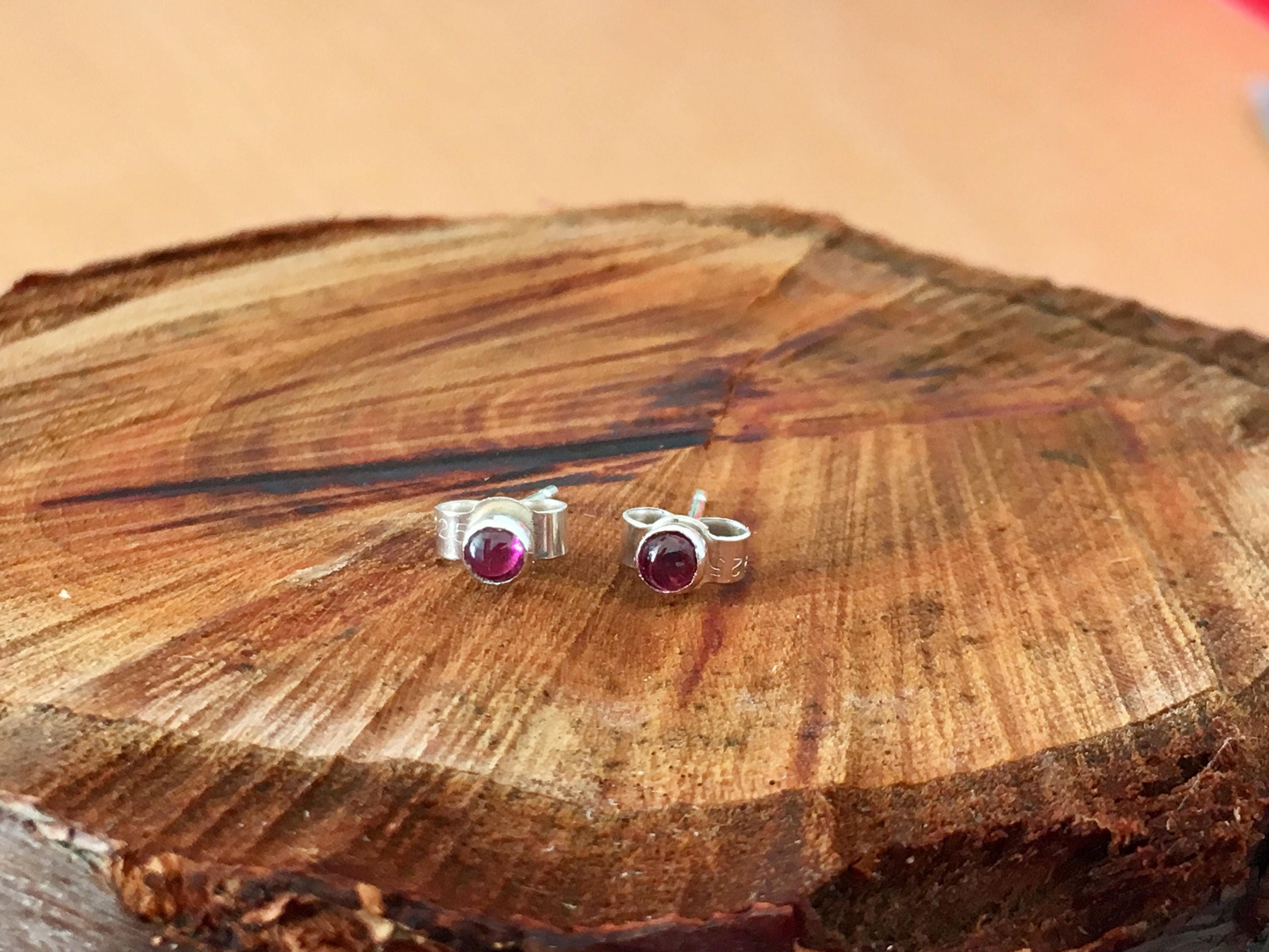 mcclelland item earrings bezel mcteigue stud garnet rhodolite