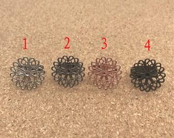 10pcs Filigree Ring Blanks Ring, Adjustable Ring, Blank Ring Setting 23mm Pad