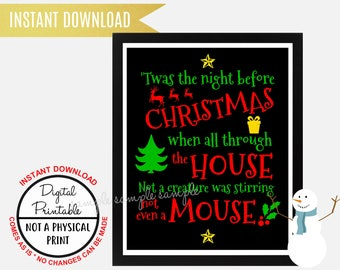 Twas the Night Before Christmas Sign, Christmas Sign, Wall Art, Printable, Instant Download