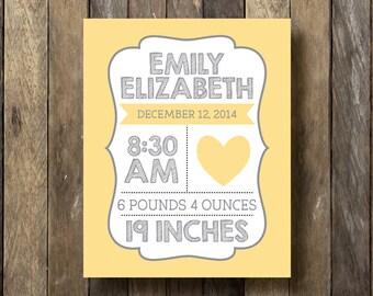 Baby Birth Stats - Nursery Personalized Birth Stats - Birth Stats Print - Baby Name Prints - Birth Stats Wall Art - Personalized Birth Stats