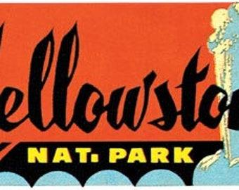 Vintage Style Yellowstone   geyser  Montana    National Park   Travel Decal sticker