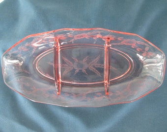 Vintage Jeannette Glass Pink Divided Relish Tray Collectible Depression Glass  Glassware Serving Dinnerware