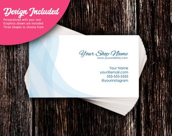 Business Cards - Custom Business Cards - Personalized Business Cards - Mommy Calling Cards - Ocean Blue