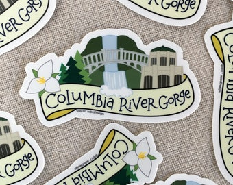 Columbia River Gorge Vinyl Sticker / Multnomah Falls Sticker / Laptop Sticker / Northwest Sticker / Oregon Sticker / Water Bottle Sticker
