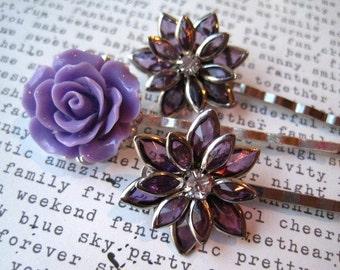 Purple Rhinestone Flower Hair Pin Set, Bobby Pins, Wedding Hair Accessory, Prom Hair Accessory, Bridesmaid Gift, Vintage Style Accessory