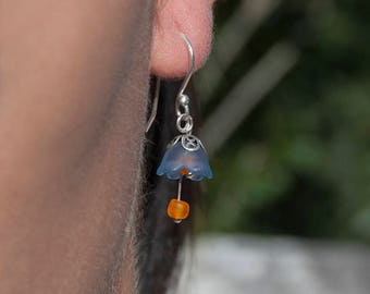 925 Silver bells earrings blue indigo-colored