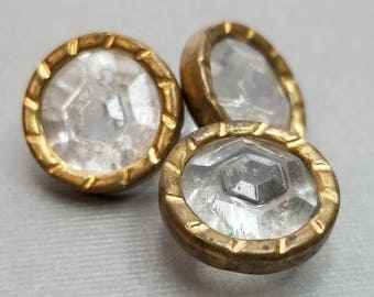 Fab Set of 3 Vintage Solid Faceted Clear Glass Buttons ~ Gorgeous Diamond Style Jewels ~ Decorative Brass Collar ~ just over 5/8 Inch 17mm