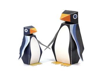 Maxi Penguin Paper Toys - DIY Paper Craft Kit - 3D Paper Animals - Kids Penguin - 3D Model Paper Figure