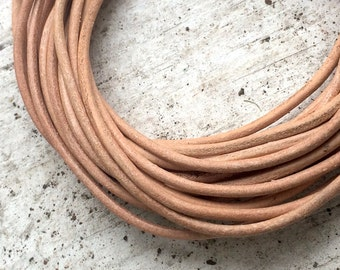Natural Leather Jewelry Cord - 2mm - 5 yard - Jewelry Beading Making Supplies
